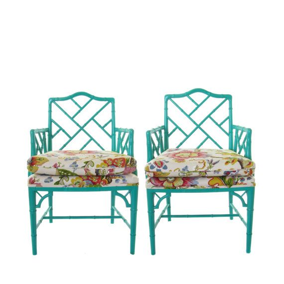 Faux Bamboo Chippendale Chairs Pair By Luxeartifacts On Etsy Faux Bamboo Chippendale Chairs Upholstery Cushions