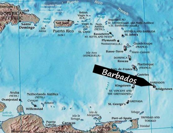 Caribbean Map Showing Barbados Barbados Island Is The Easternmost - Map of dominica caribbean sea