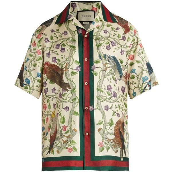 021948911 Gucci Birds of Prey-print silk-twill shirt ($980) ❤ liked on Polyvore  featuring men's fashion, men's clothing, men's shirts, men's casual shirts,  ...