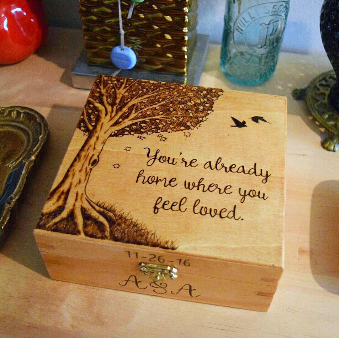 Laser Cut Memory Box Christmas Eve Box Plain Box with a lid Wooden craft box