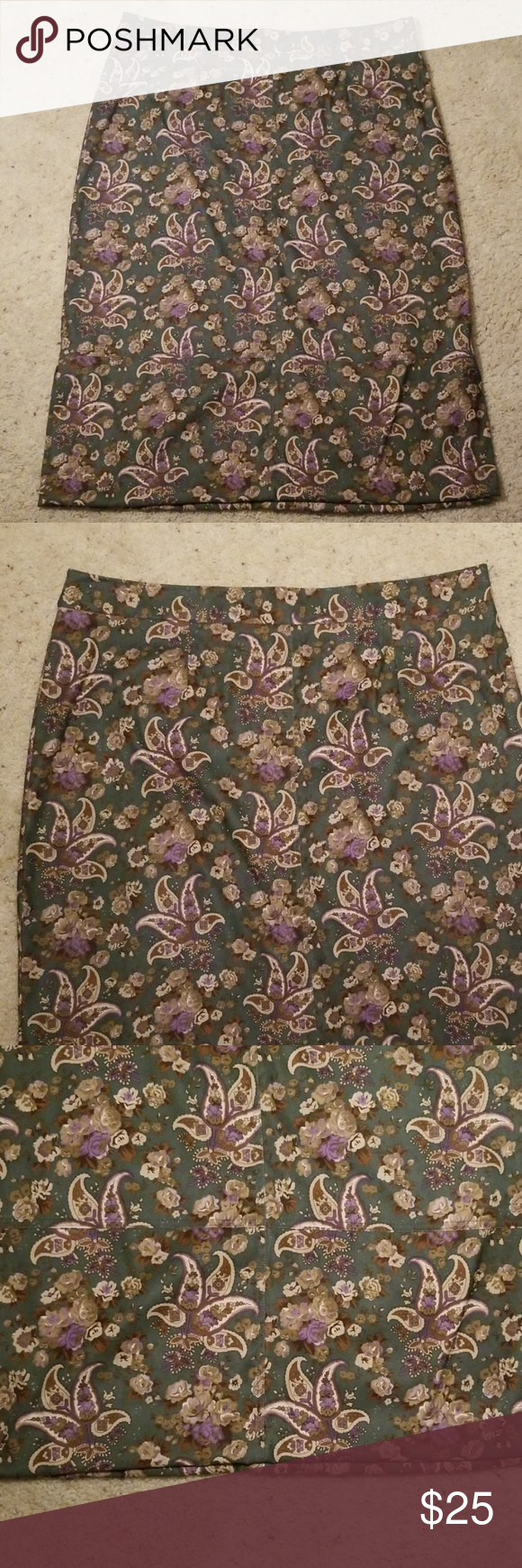 Jaclyn Smith Classic Full Length Skirt Floral And Paisley Pattern Size 24w Skirts