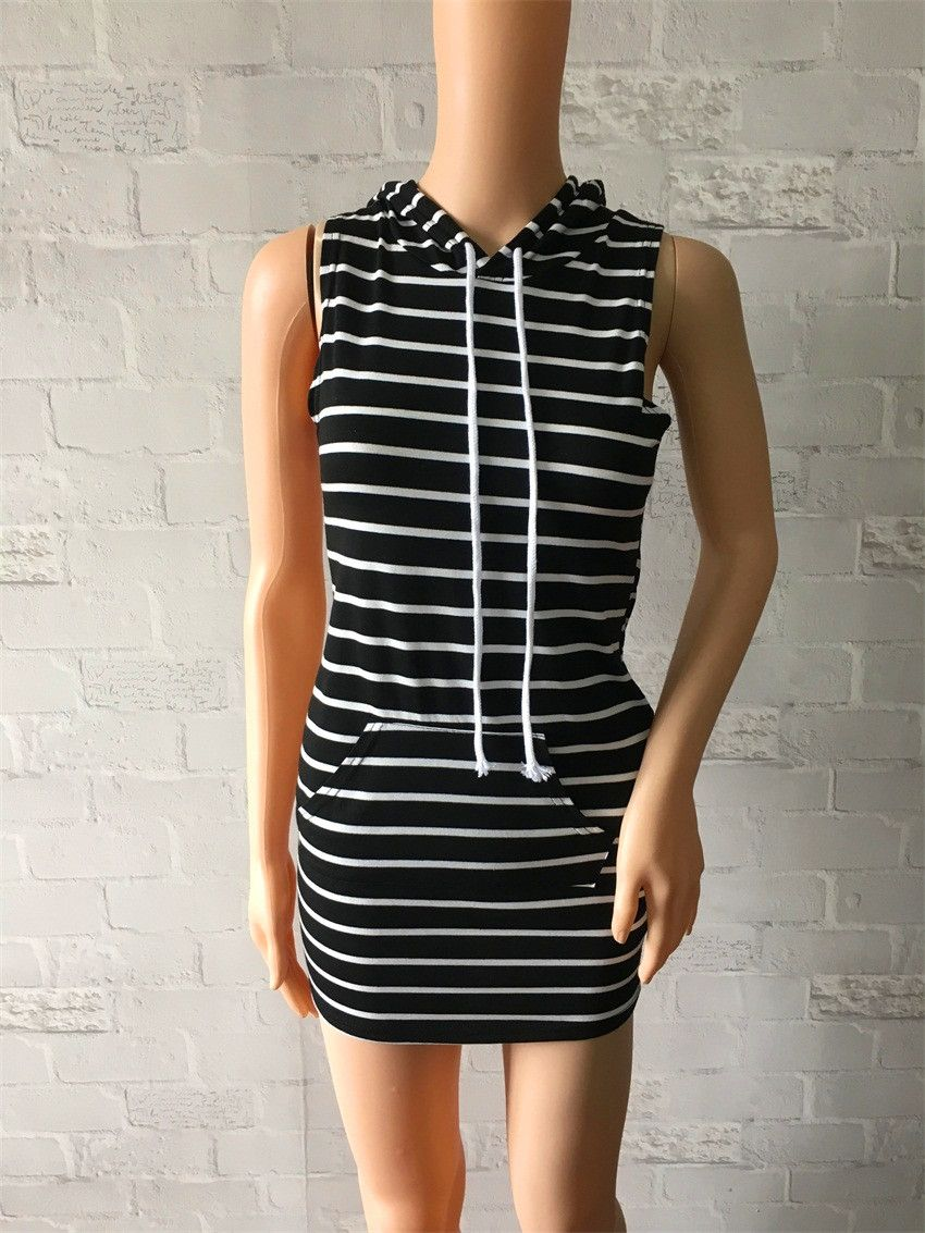 eb17eb7508 Women s Striped Black And White Casual Dress Hipster