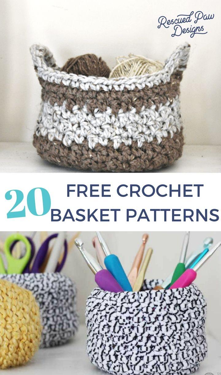 20 Free Crochet Basket Patterns to Make today!   Cesto, Cestas y ...