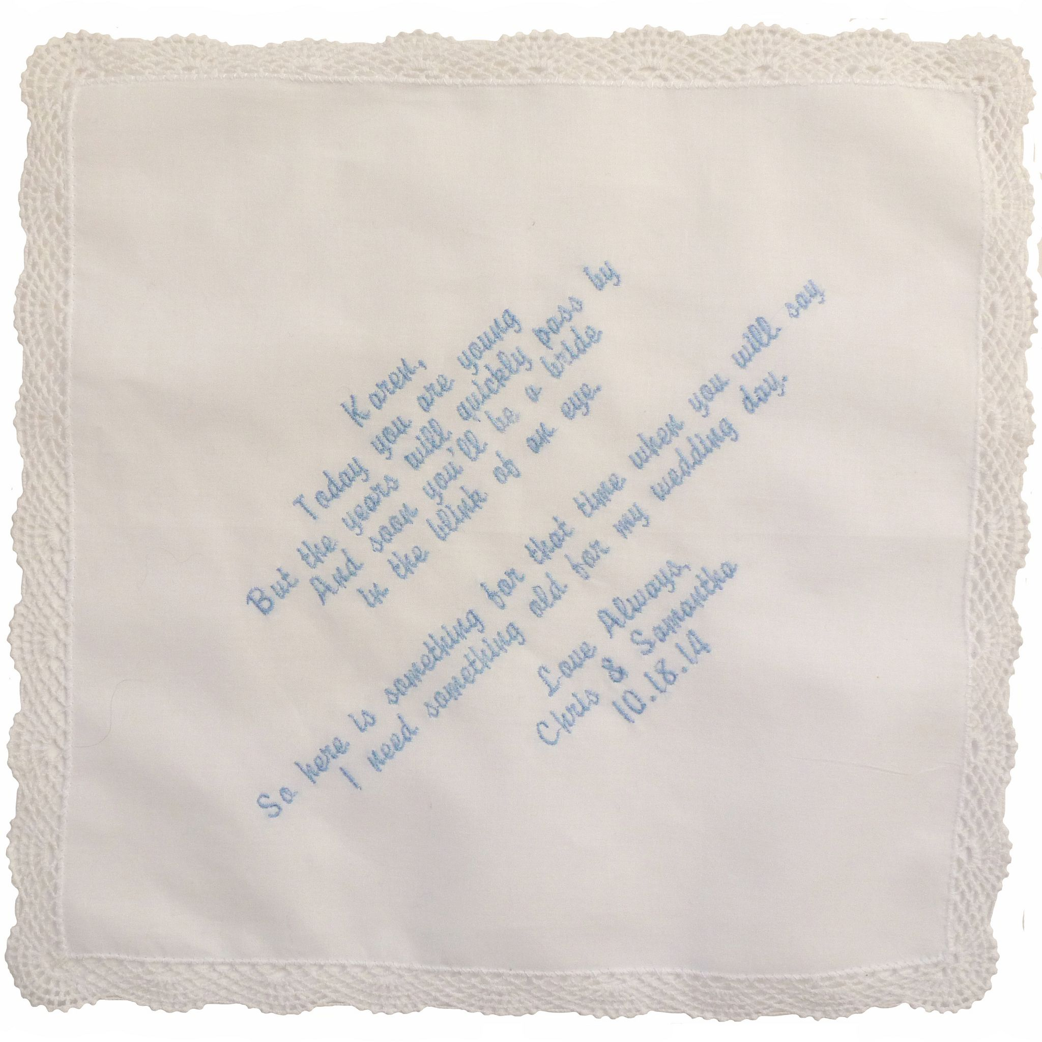 Custom Embroidered Flower Girl Hankie with Lovely Poem Diagonal Orientation