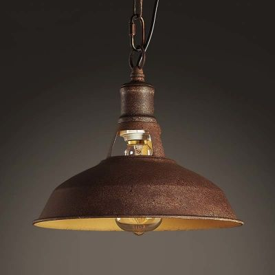 Old Copper 1 Lt Barn Indoor Pendant With Warehouse Shape