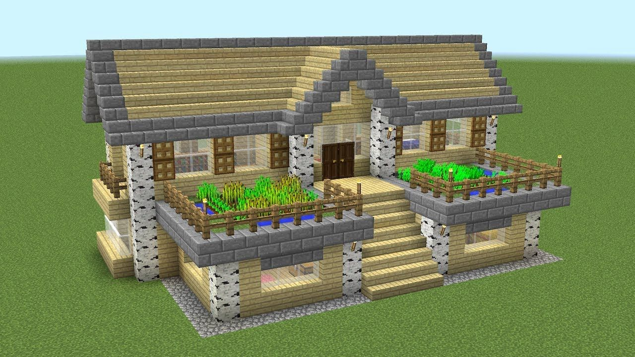 Minecraft How To Build A Birch Survival House Youtube Easy Minecraft Houses Minecraft House Tutorials Cute Minecraft Houses