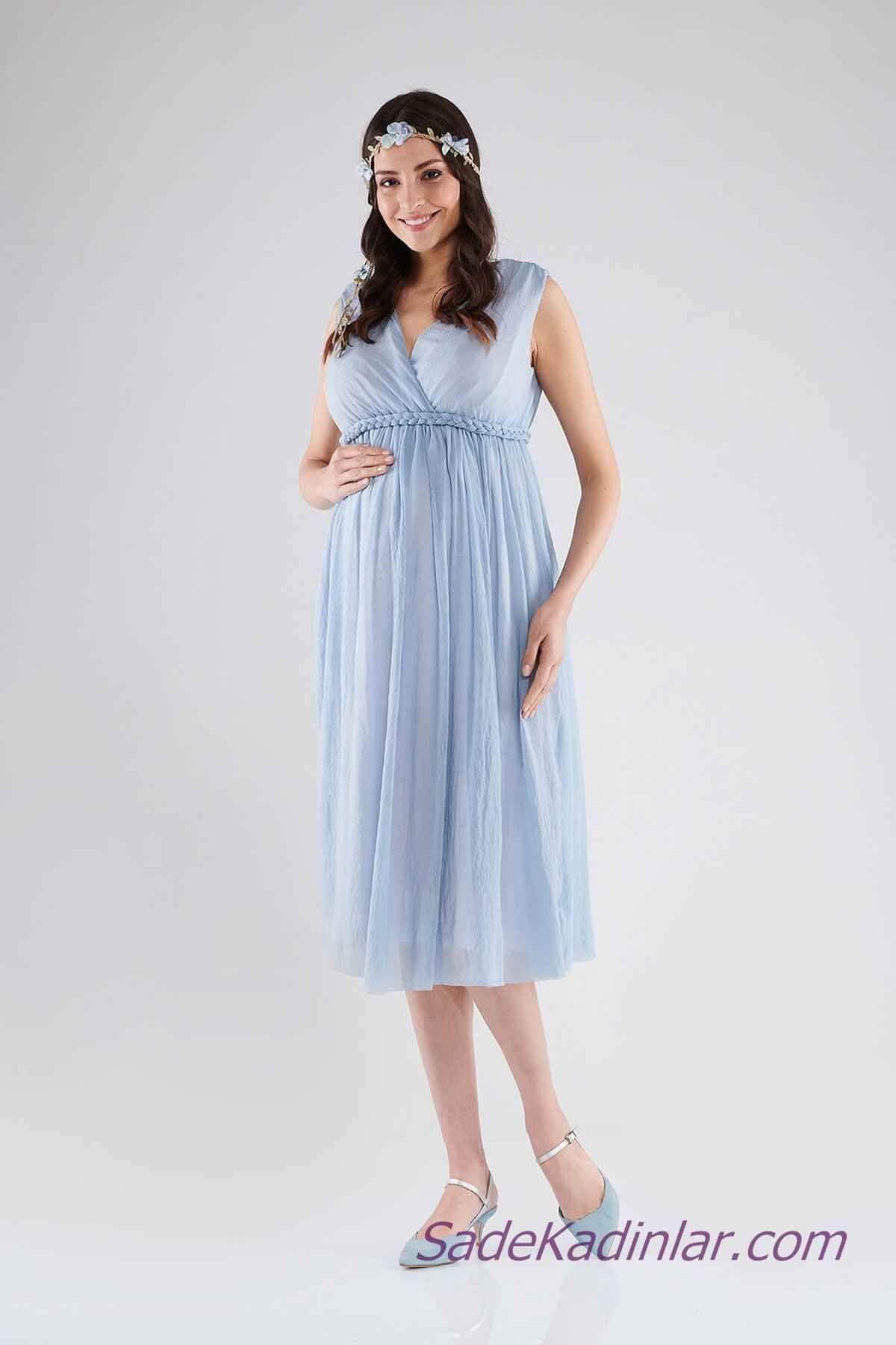 Hamile Abiye Elbise Modelleri Bebek Mavisi Midi V Yakali Kolsuz Orgu Kemer Detayli Elbise Modelleri Elbise Moda Stilleri