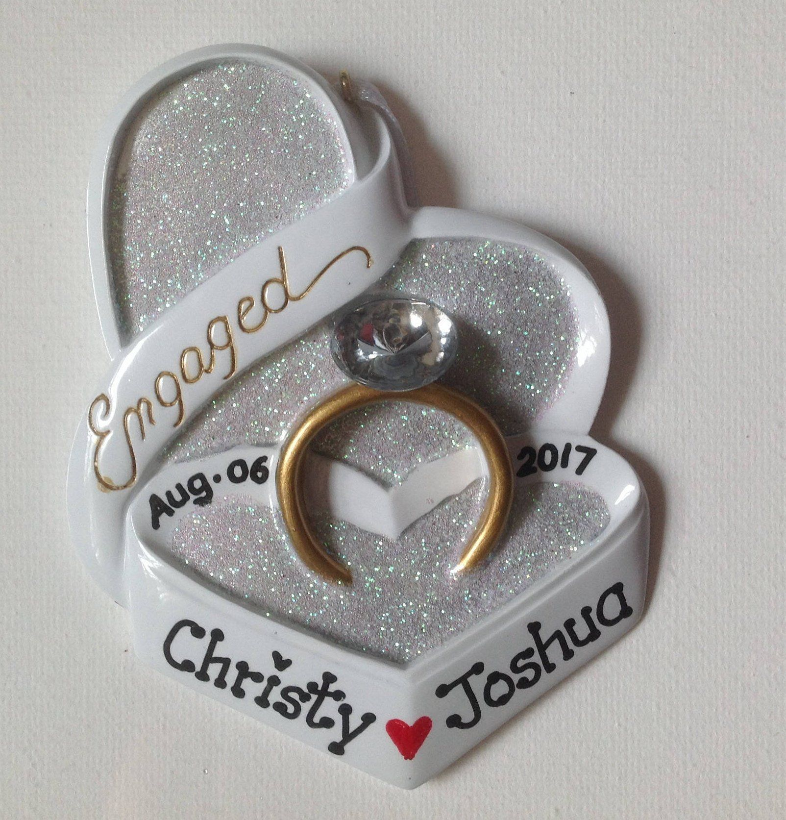 personalized engagement christmas ornament weure engaged