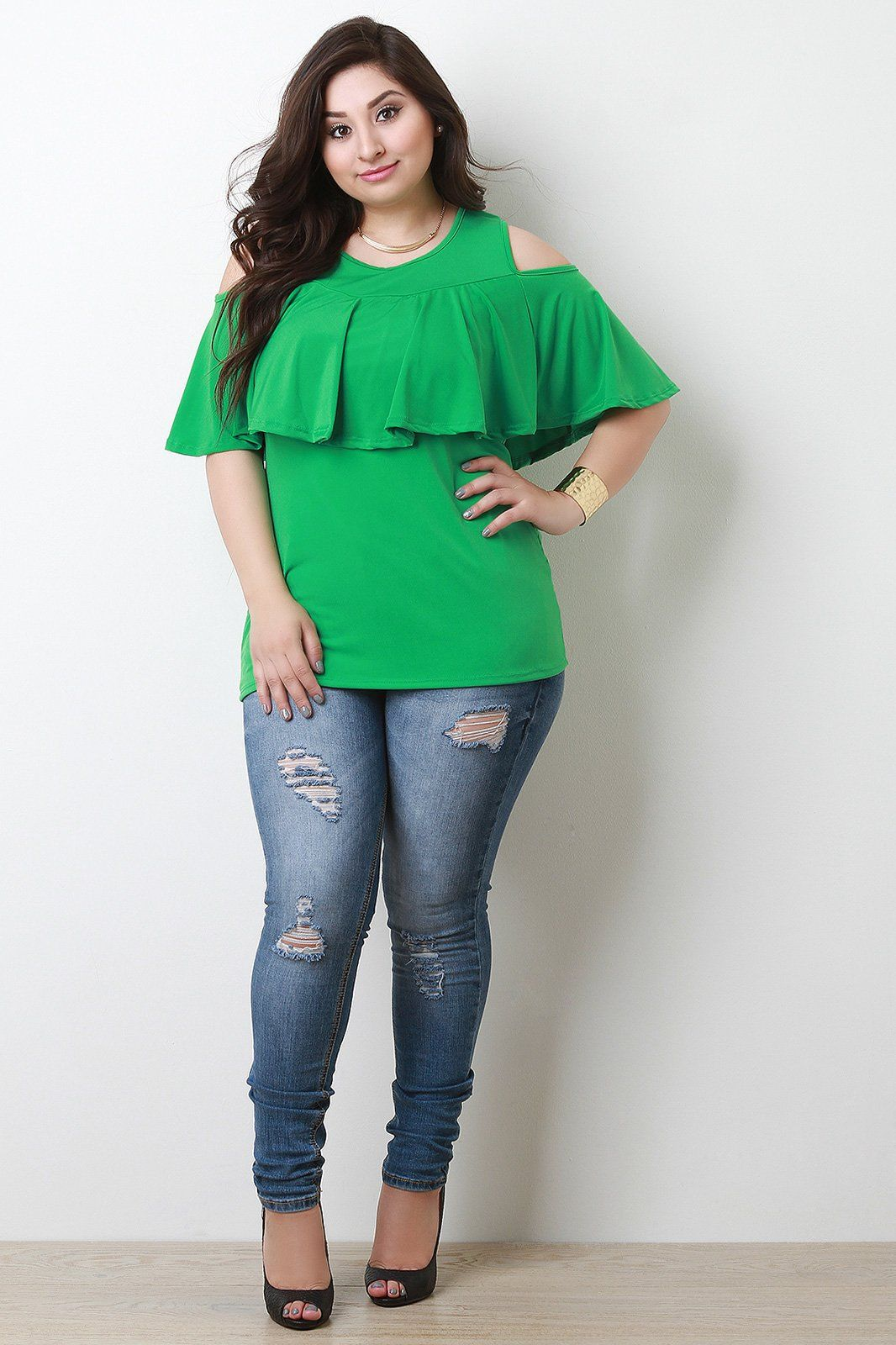 b72960e4837769 This plus size top features a round neckline
