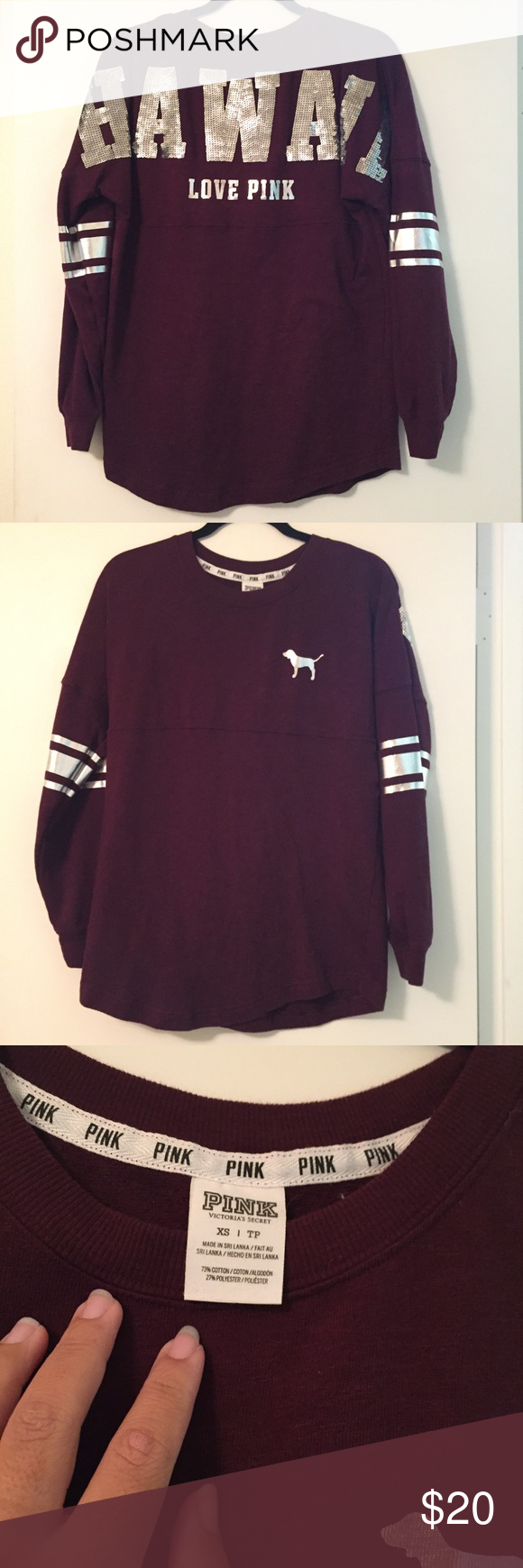 Victoria's Secret PINK maroon HAWAII sweatshirt | Burgundy color ...