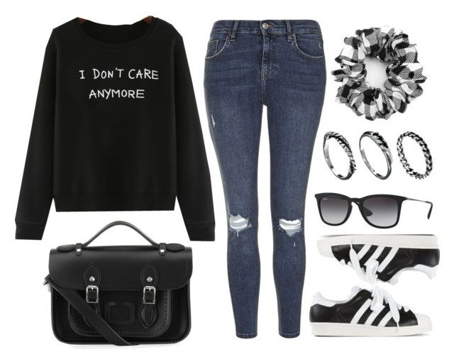 """Style #9888"" by vany-alvarado ❤ liked on Polyvore featuring Topshop, adidas Originals, The Cambridge Satchel Company, Ray-Ban and DesignSix"
