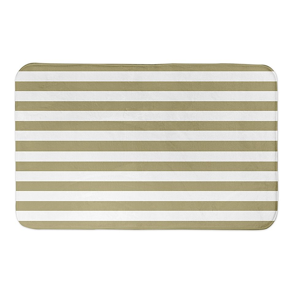 Designs Direct Gold And White Stripes 34 X 21 Bath Mat Yellow In