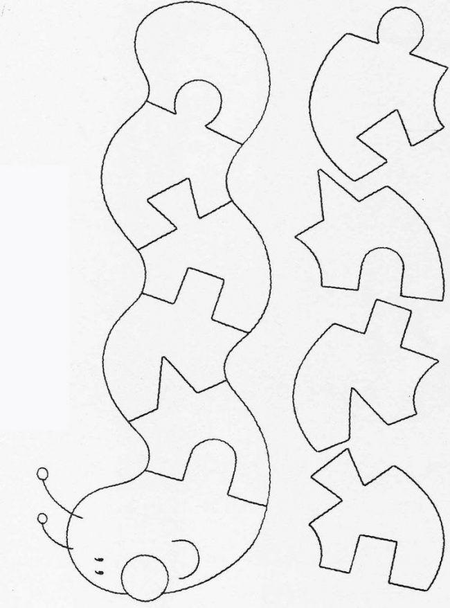 Dekupiersage Vorlagen Kostenlos Ausdrucken Raupe Kindergartenkinder Puzzle Ruhige Buch Muster Kreativ Bastelarbeiten