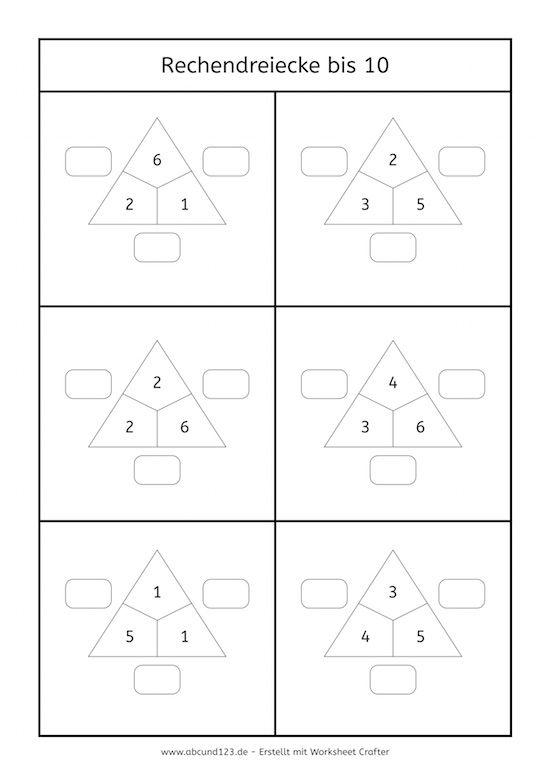 Rechendreiecke bis 10 #freebie #rechnen | matematika 1.osztály ...