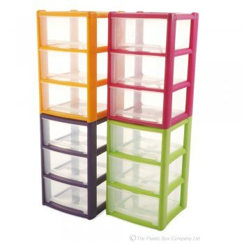 Large Wham Plastic Three Drawer Plastic Unit In Funky Colours
