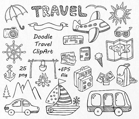 Doodle Travel Clipart Hand Drawn Summer Digital Clip Art PNG EPS AI Vector Transport For Personal And Commercial Use