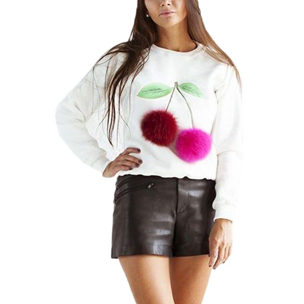 Women casual long sleeve tshirt novelty colorful cherry plush ball