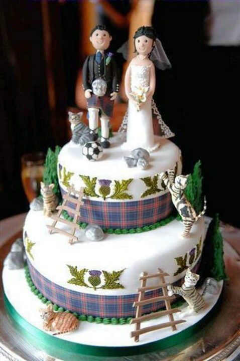 Scottish Wedding - Use plaid ribbon around the cake