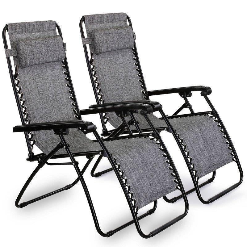 Pair Folding Reclining Chair Detachable Pillow Outdoor