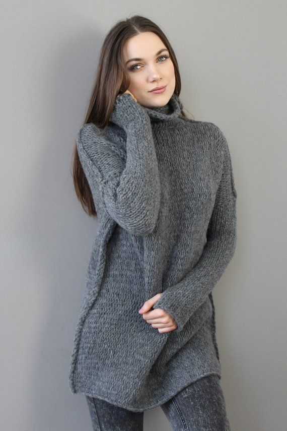 505cb18fe Alpaca Oversized  Slouchy Loose woman knit sweater. Chunky knit Alpaca  sweater tunic pullover . Gre