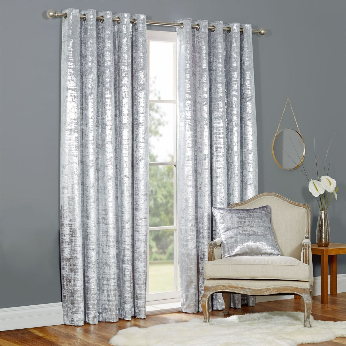 There S Nothing Quite So Luxurious As Velvet Unless It S Velvet With A Metallic Shimmer Crafted From Silver Curtains Silver Home Accessories Curtains Pair