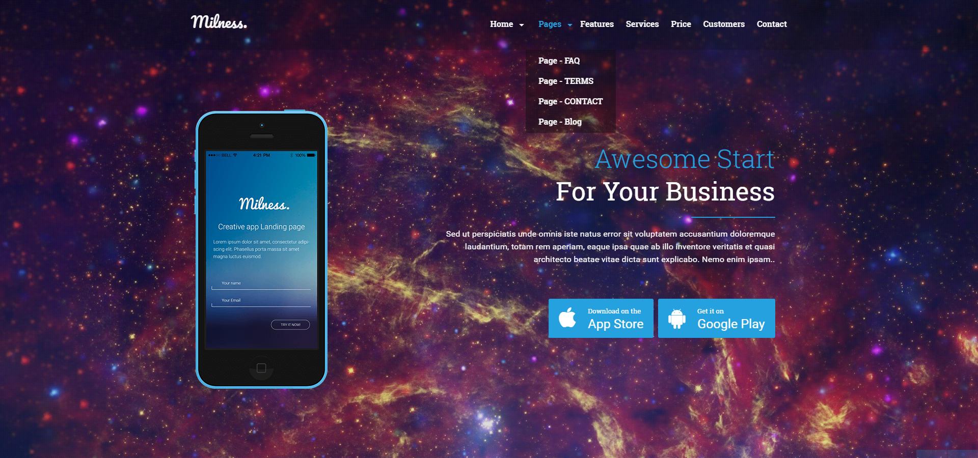 Milness Showcase Mobile App Website Template 65448