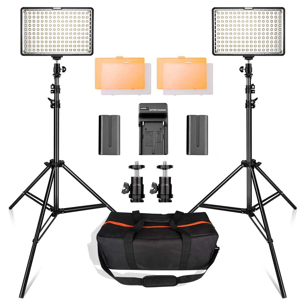 Led Video Light Kit With 2m Stand