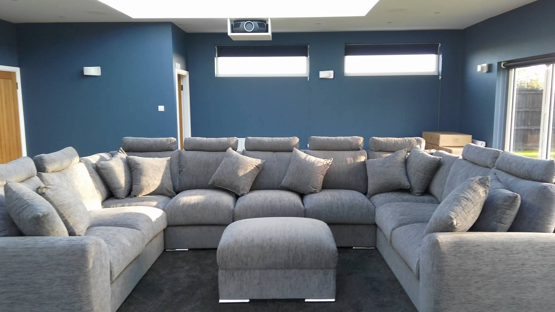 Cinema Style Sofa In Grey Fully Modular Any Shape Any Size Choose Over 200 Different Fabrics Quatropi Lar Corner Sofa Design Long Living Room U Shaped Sofa