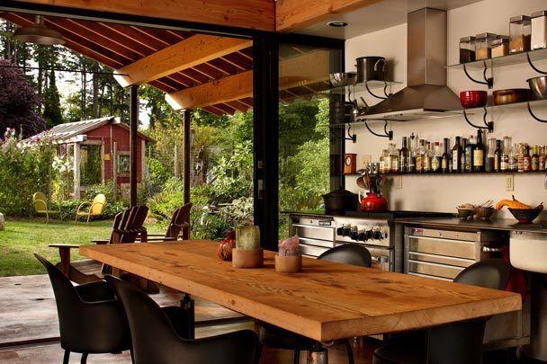 Indoor/outdoor kitchen, via Seattle Times | Indoor outdoor ...