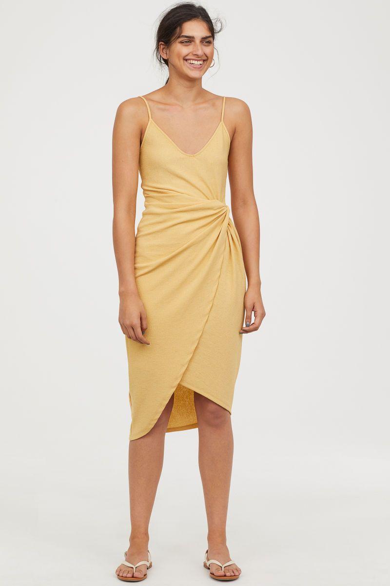 envío gratis como encontrar nueva apariencia Vestido cruzado drapeado | Amarillo claro | MUJER | H&M MX ...