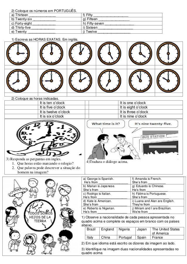 Atividades De Ingles Ensino Fundamental Ii Com Imagens