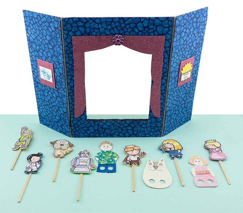 Finger Puppet Stage And Puppets. Kids Summer Crafts Using