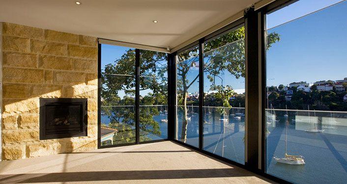 Aluminum Sashless Double Hung Windows Along Side Stone Wall Double Hung Windows Windows Aluminium Doors