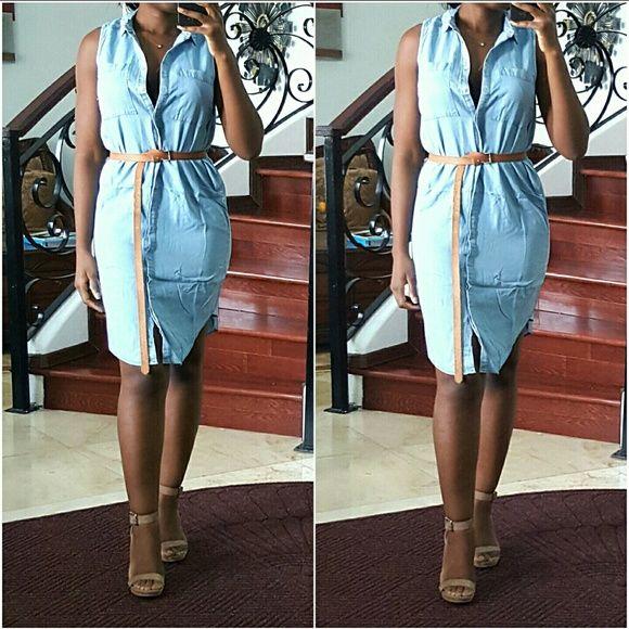 Denim Shirt Dress An easy denim shirt dress with front button closure. Dresses Midi