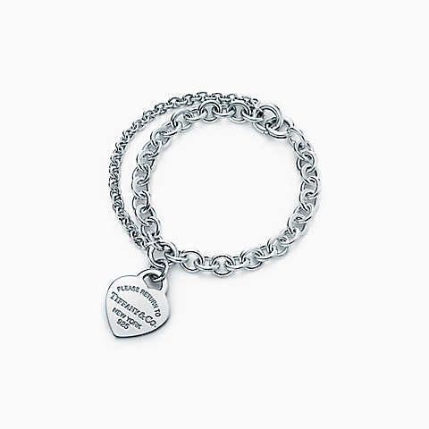 Bracelet plaque coeur tiffany