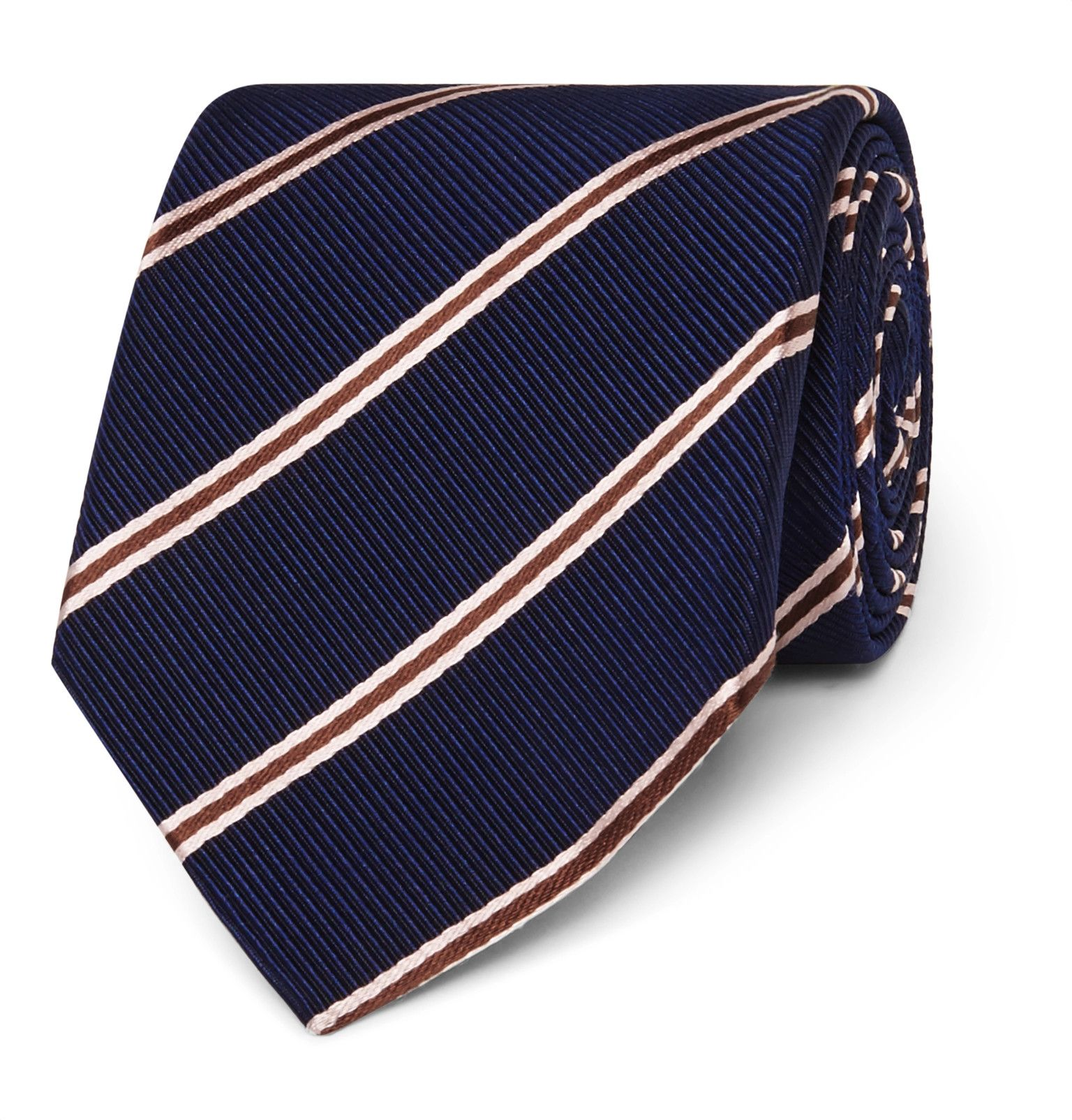Mens Striped Silk-Blend Necktie Drake's