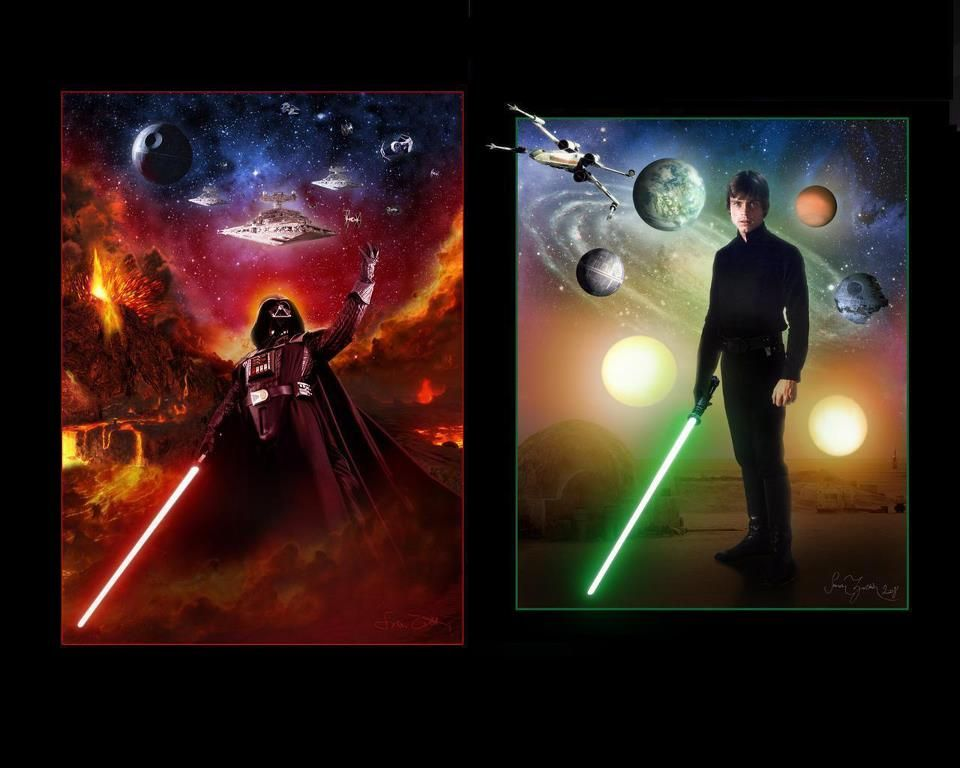Dark Side And Light Side Luke And Darth Vader Star Wars Star Wars Wallpaper Star Wars Art
