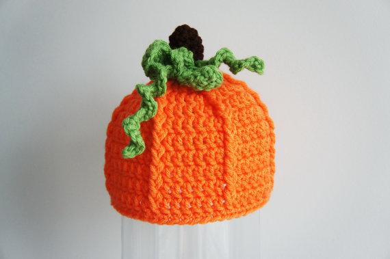 Pumpkin Hat, Halloween Beanie Hat, Crochet Baby Hat, Baby Hat ...