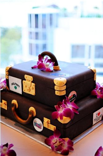 Amazing cake for a travel-themed wedding.