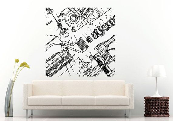 Car vehicle automobile engine motor parts blueprint wall decal car vehicle automobile engine motor parts blueprint wall decal vinyl sticker mural room decor l847 malvernweather Choice Image