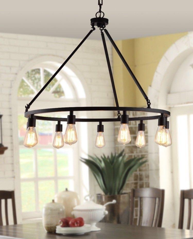 Rustic Farmhouse Chandelier Round Dining Room Edison Lighting Light Fixture