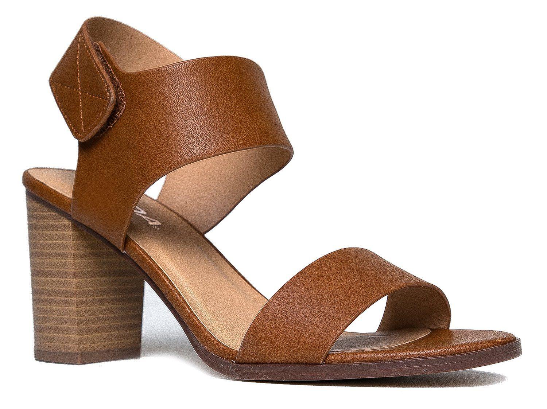 ebdd20c3a760 Peep Toe Sandal - Low Stacked Heel - Open Toe Ankle Heel Cutout Velcro  Enclosure by J. Adams -- Trust me