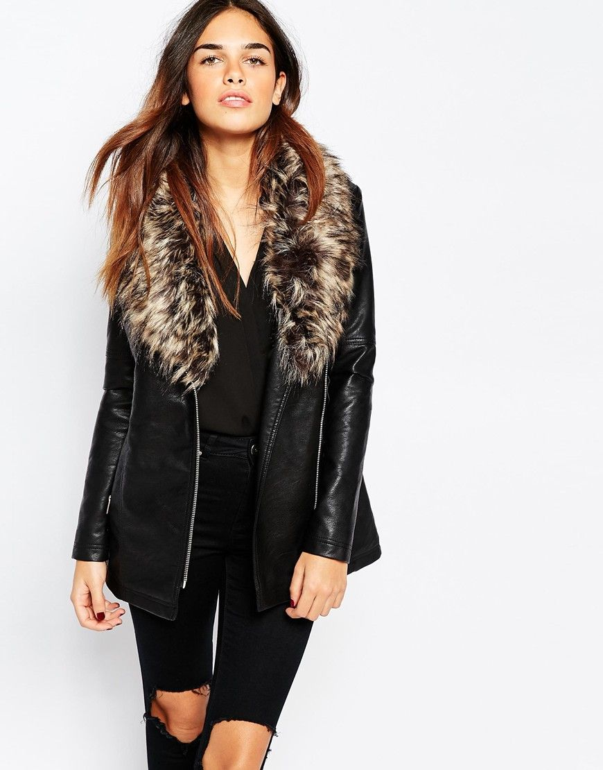 04edc6e18 Warehouse Faux Leather and Faux Fur Collar Jacket | Style | Fur ...
