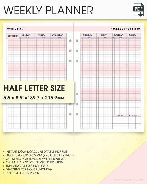 Weekly Undated Planner Half Size Inserts Printable WoPV Weekly