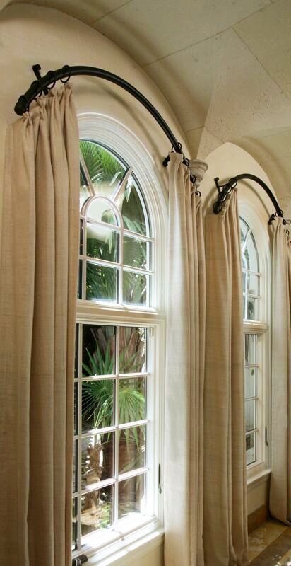 Arched windows and great rod and curtains! More Arched window - cortinas para ventanas