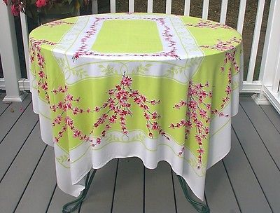 Linens · Vintage Tablecloth Lime Green ...