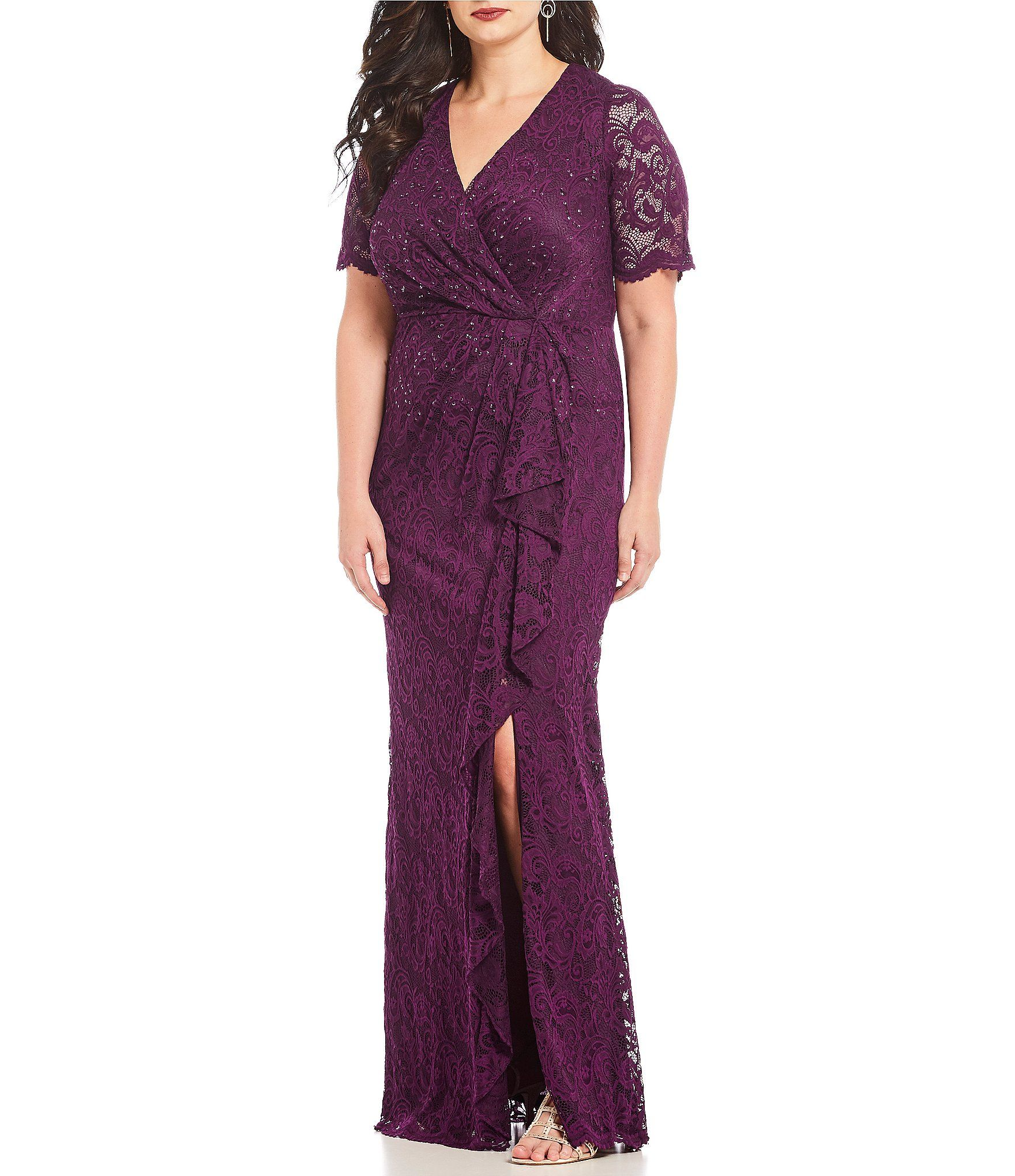 22dac07588e Adrianna Papell Plus Size Draped Beaded Lace Gown  Dillards