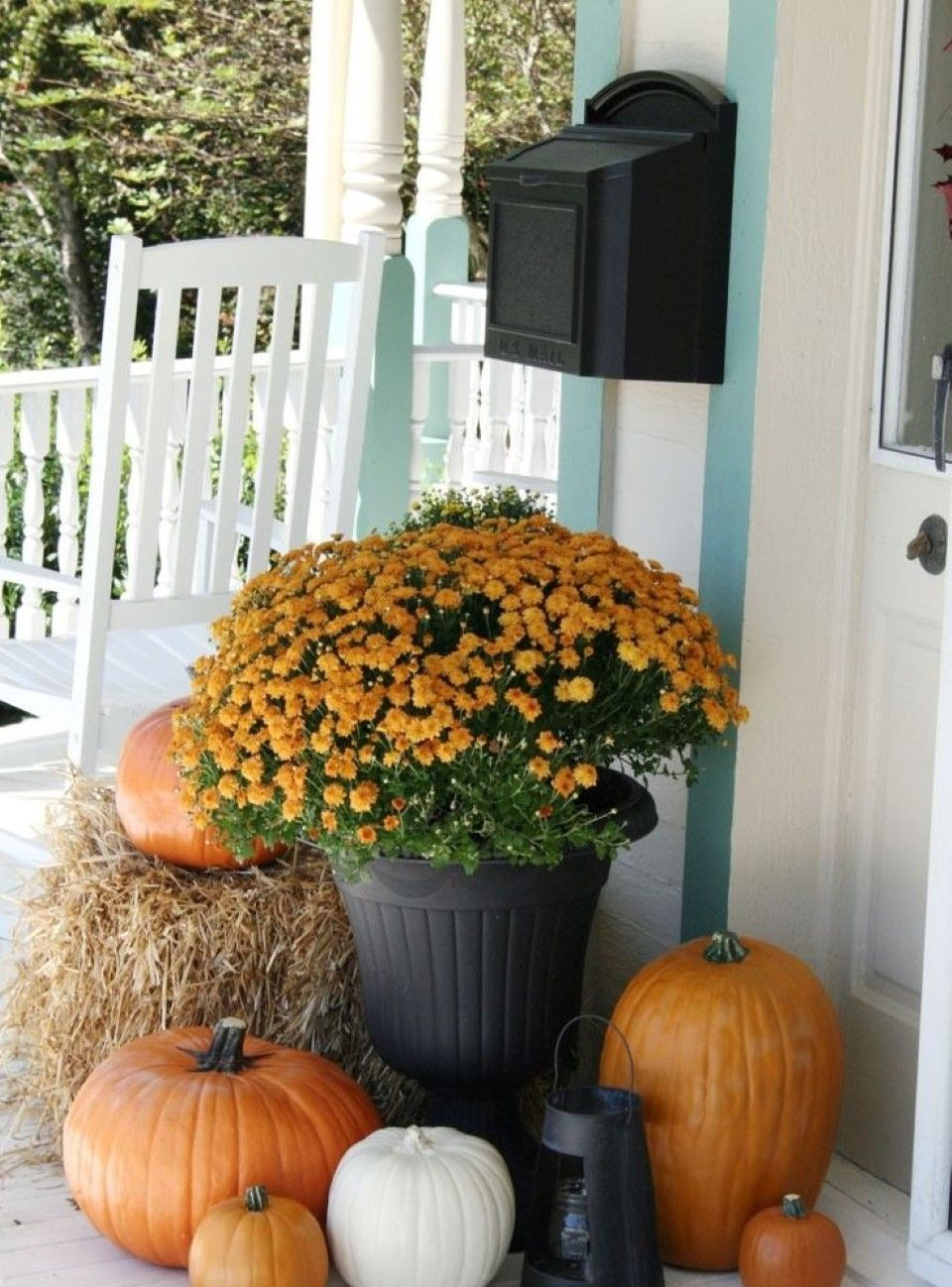 Mum Bouquet feat Orange and White Pumpkins plus Lantern with Wall Mounted Mail Box also Lovely Fall Decorating