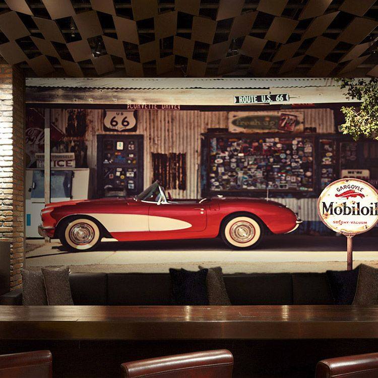 custom wallpaper 3D wallpaper retro nostalgia vintage car ...