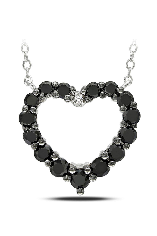 1Ct Black And White Diamond Heart Pendant In Silver